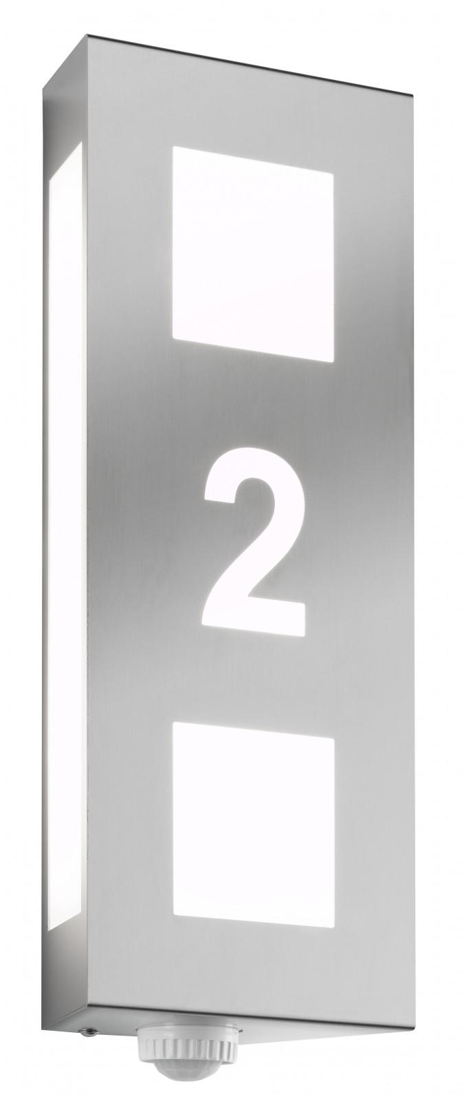 cmd edelstahl au enleuchte aqua trilo mit hausnummer bewegungsmelder wandleuchte 26 hn bm. Black Bedroom Furniture Sets. Home Design Ideas